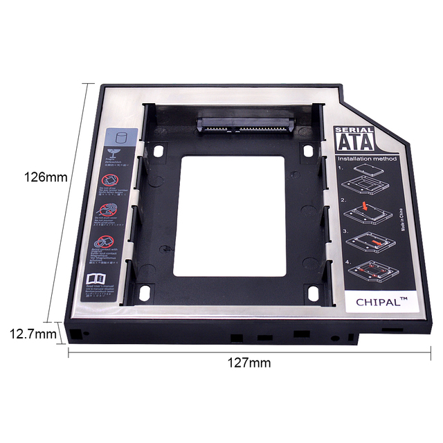 "CHIPAL 2nd HDD Caddy 12,7mm para 2,5 ""2 TB SATA 3,0 GB SSD caso caja de disco duro caja + LED para el ordenador portátil CD-ROM DVD-ROM Optibay"