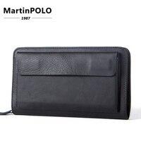 Wallet Male Genuine Leather Wallets for Credit Card Phone Money Wallet Long Coin Purse Men Clutch Bag wristlet Carteira MLT9069
