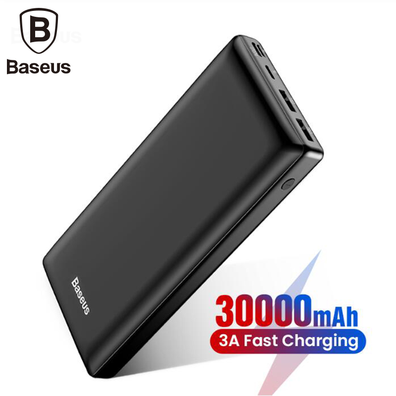 Baseus 30000mah grande capacidade power bank para o curso móvel powerbank carregador rápido 3.0 tipo c power bank para iphone samsung