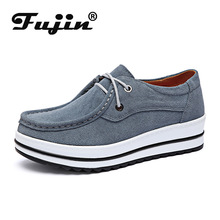 Fujin Spring Muffin Thick Sole Single Shoes Dropshipping Female Genuine Leather Slope Heel Flat Leisure Women Shoe Lace Up