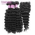 3 pacotes de cabelo virgem profunda onda brasileira com fechamento, 100% pacotes com fecho de cabelo humano, aliexpress yvonne cabelo produtos