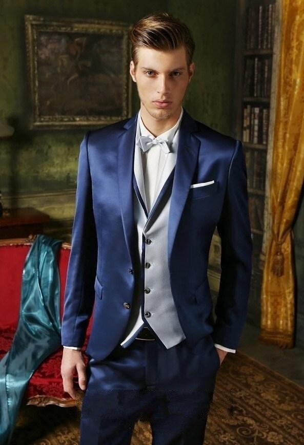 2016 Bräutigam Smoking Shiny Marineblau Groomsmen Kerbe Revers Hochzeit/abendessen Anzüge Best Man Bräutigam (jacke + Pants + Tie + Vest) B415
