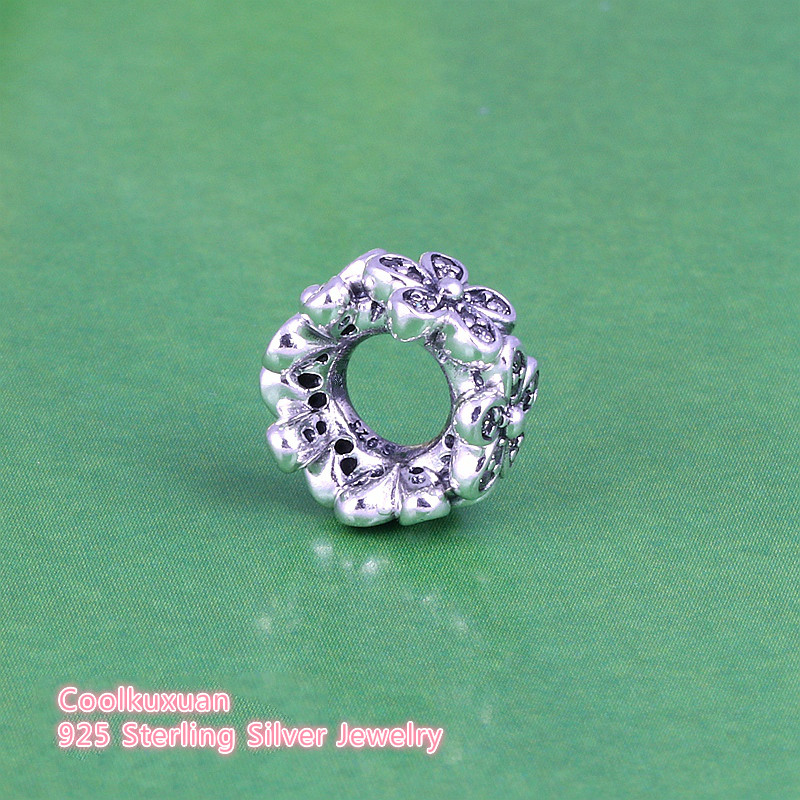 925 Sterling Silver Dazzling Daisies Clear CZ Spacer Fit European Charm Bracelet