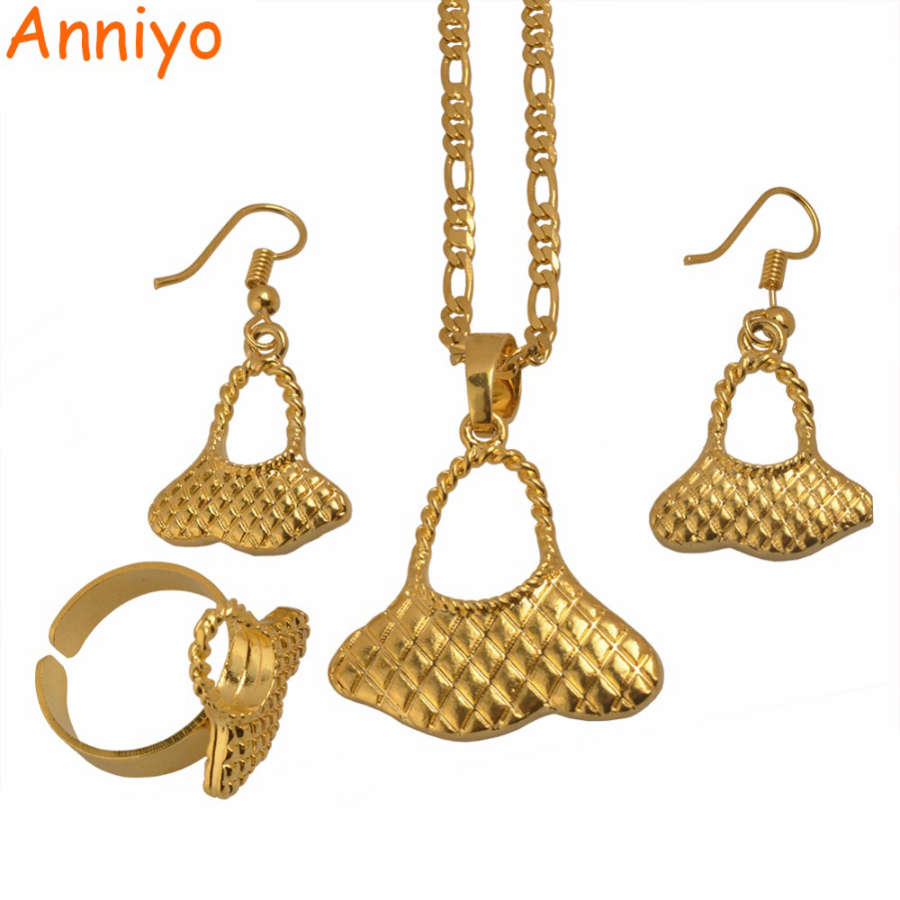 Anniyo Gold Color PNG Pendant Necklaces Earrings Sets for Women Papua New Guinea Bilum Jewelry Gift #079406