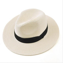 BINGYUANHAOXUAN Brand 2017 New Summer Hats For Women Black Ribbon Panama Straw Hat Fashion Lady Lady Hats Beach Sun Hat chic black ribbon embellished summer straw hat for women