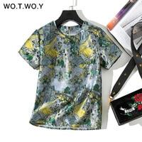 WOTWOY Vintage Jacquard T shirts Women Summer O neck Short Sleeve Button Tees Shirt Woman Green Tops Harajuku Streetwear 2019