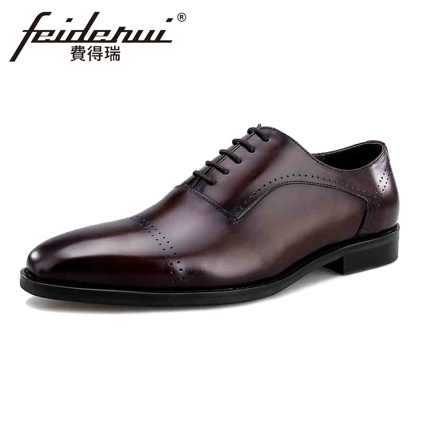 New Arrivla Genuine Cow Leather Men's Handmade Oxfords Formal Dress Round Toe Man Brogue Flats Vintage Designer Male Shoes BQL71 new arrival luxury man casual shoes genuine leather cow comfortable loafers round toe designer brand men s business flats gd20