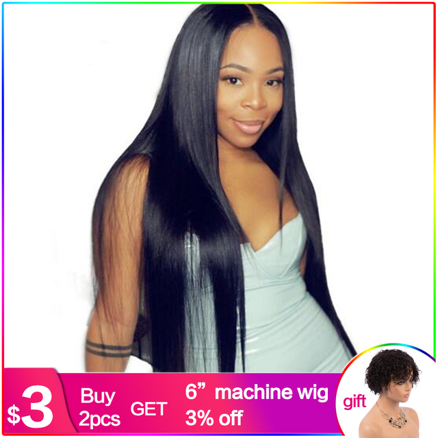 Silky Straight 13x6 Lace Front Human Hair Wigs For Women Glueless With Baby Hair Pre Plucked Natural Indian Non-remy Luffy Hair