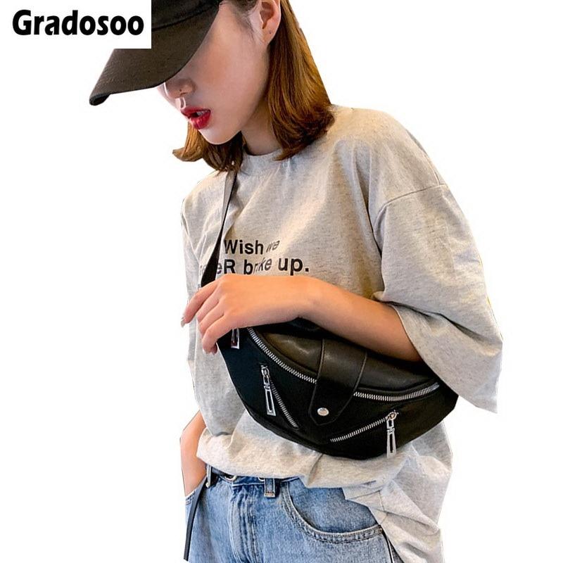 Gradosoo Summer Fashion Fanny Pack For Women Shoulder Bags Female Chest Women's Bag Banana Bag Bum Bag Women's Purse 2019 LBF511
