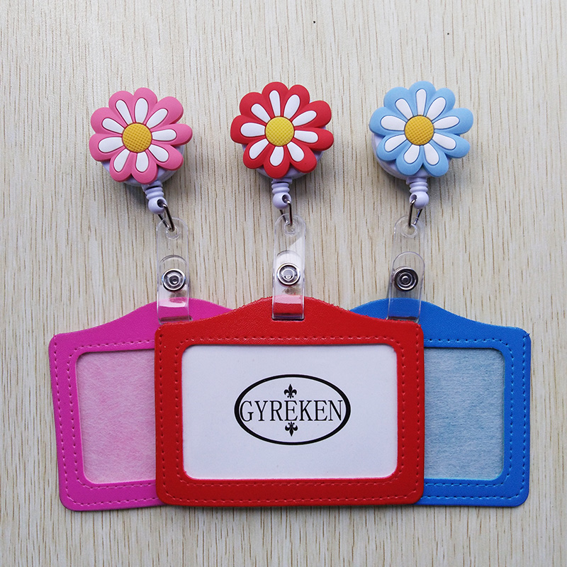 1Pcs Pretty Flower Cartoon Retractable Badge Reel Student Nurse Show Horizontal ID Card Name Badge Holder Office Supplies