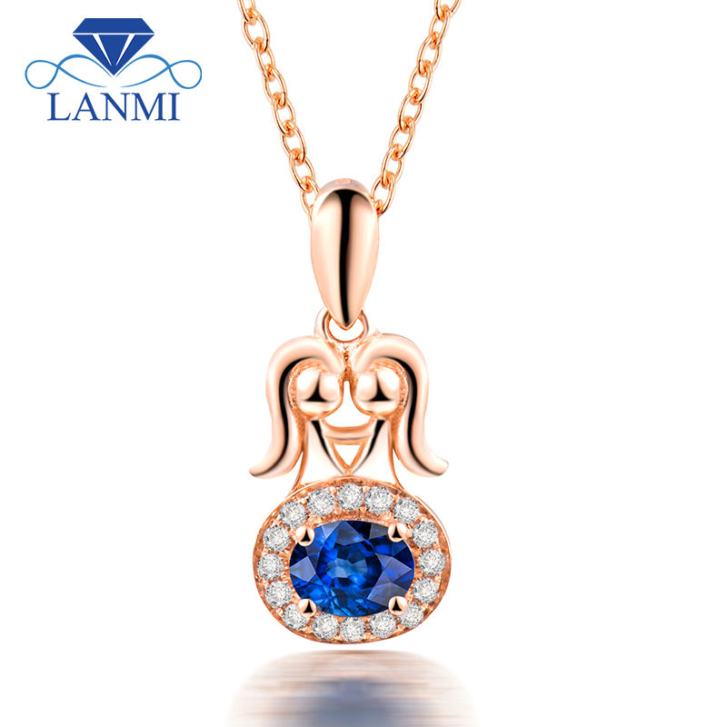 New Gemini Design  Natural Gemstone Pendant With Oval 3.5x4.5mm Sapphire Solid 18K Rose Gold WP086GNew Gemini Design  Natural Gemstone Pendant With Oval 3.5x4.5mm Sapphire Solid 18K Rose Gold WP086G