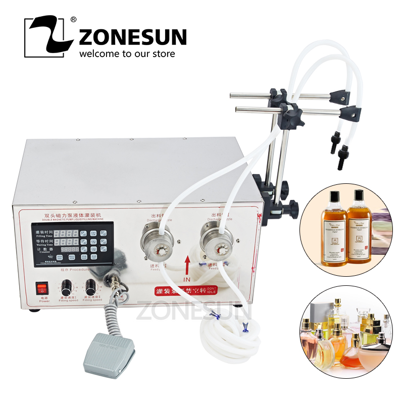 ZONESUN 5ml to Unlimited Magnetic Gear Pump Liquid Filling Machine with Double heads Magnetic Pump Bottle Liquid Filling machine zonesun pneumatic a02 new manual filling machine 5 50ml for cream shampoo cosmetic liquid filler