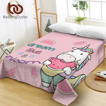 BeddingOutlet Lovely Unicorn Bed Sheet Watermelon Flat Sheet Pink Cartoon Bedspreads 1PC Colorful Hair for Kids drap de lit(China)