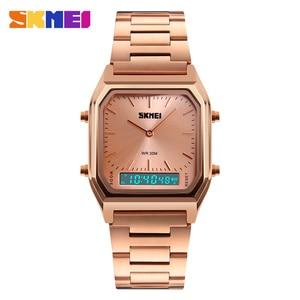 Image 4 - SKMEI Luxury Fashion Casual Quartz Watch Waterproof Stainless Steel Band Analog Digital Sports Watches Men relogio masculino