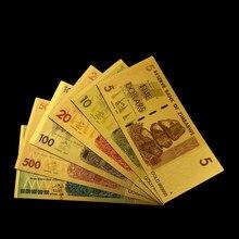 Zimbábue colorido conjunto de notas de ouro 5/10/20/100/500/100 trilhões de dólares pacote completo réplica moeda dinheiro coleção papel