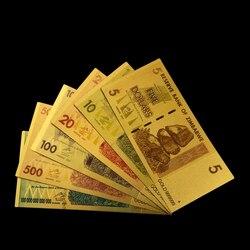 Комплект ярких золотых банкнот 5/10/20/100/500/100 триллиона долларов Зимбабве, полная упаковка, копия валюты, коллекция монет