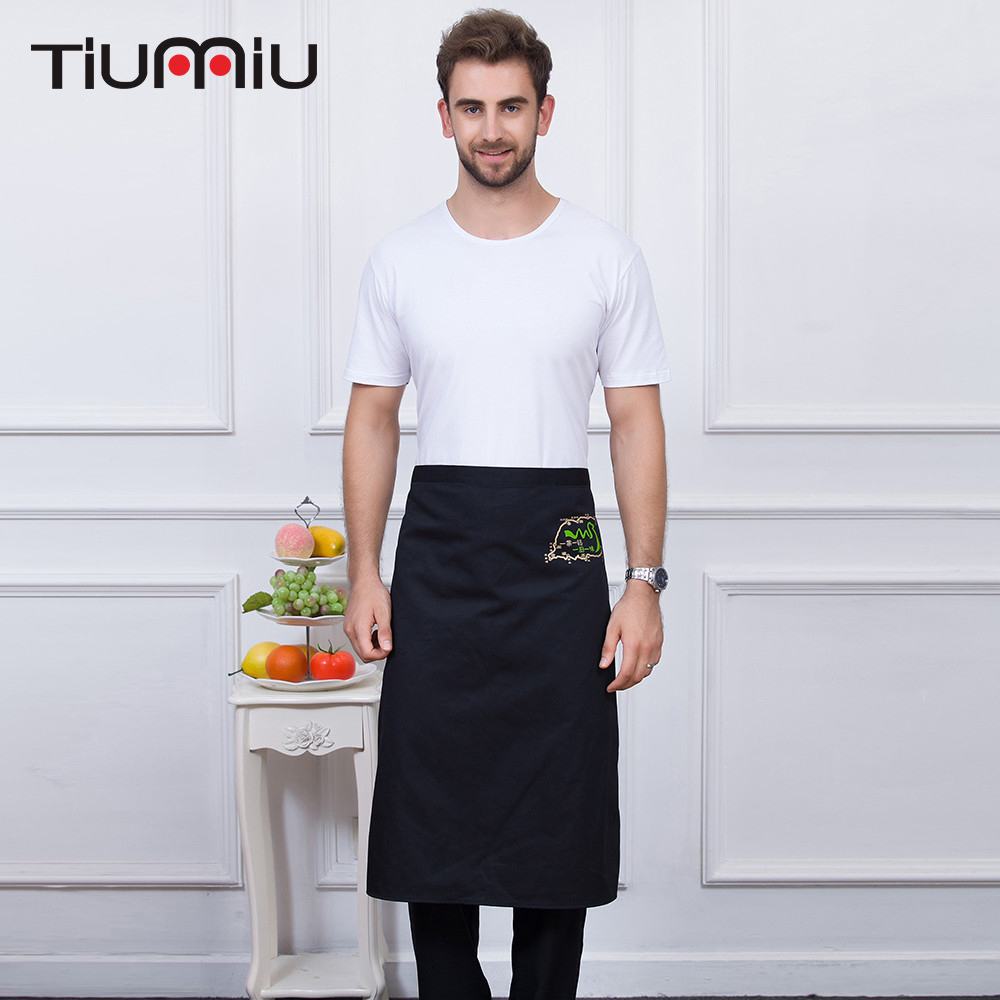 Embroidary Apron 5 Colors High Quality Wholesale Unisex Kitchen Hotel Coffee Shop Bakery Chef Waiter Cleaning Work Wear Aprons