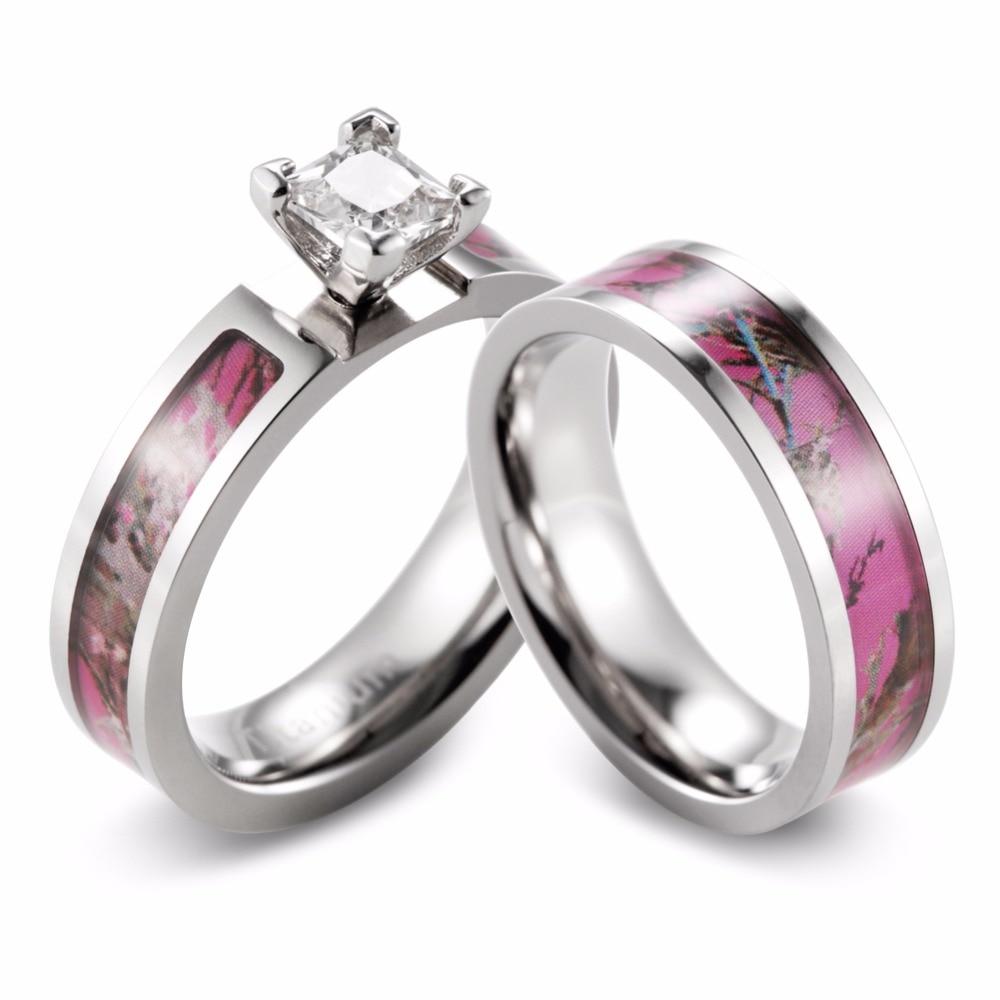 shardon women camo engagement ring set titanium 4 prong setting princess cz pink camo wedding band for women 2pcs - Pink Wedding Rings