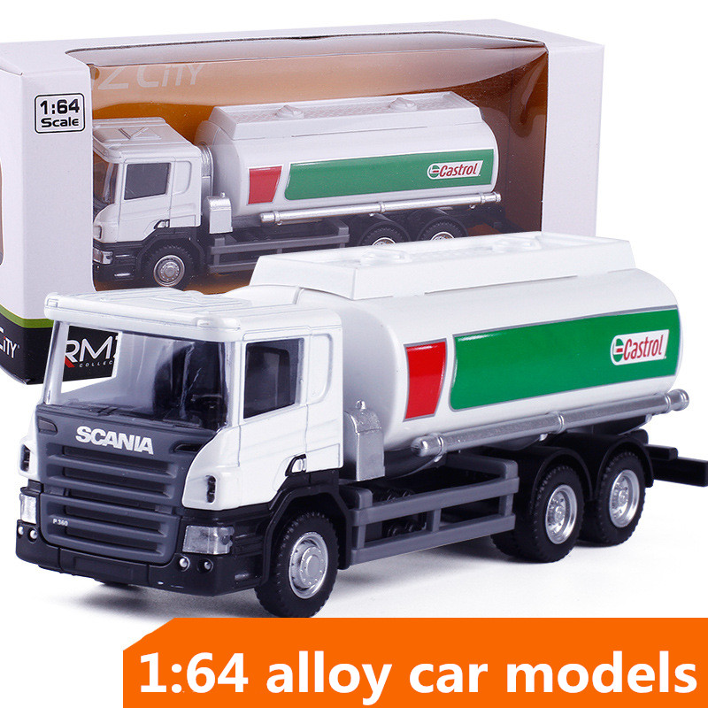 1:64 Alloy Construction Vehicles,high Simulation Oil Tanker Model,Inertial Taxiing Toys,children's Educational Toy,free Shipping