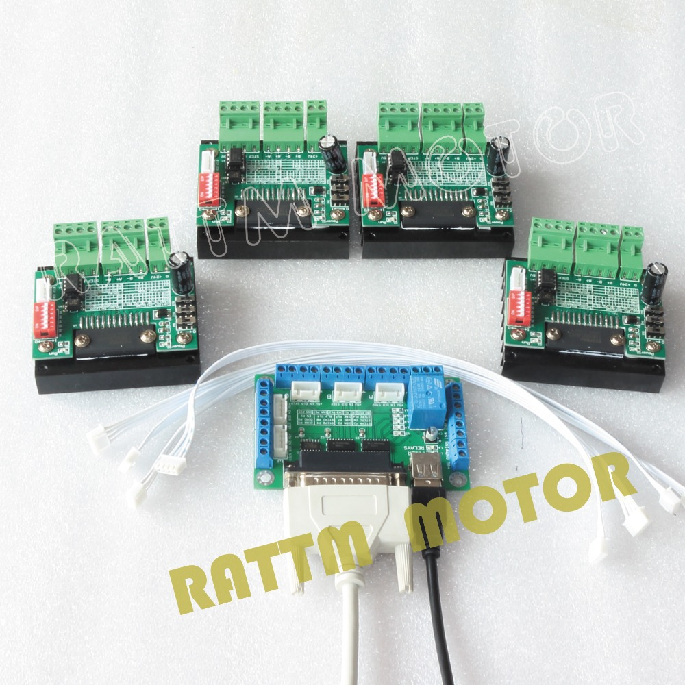 4PCS 3.5A TB6560 Single Axis CNC Stepper Motor Driver 16 Microstep & 5 axis CNC Breakout board interface V5 type MACH/EMC2/KCAM4 cnc 3 axis tb6560 stepper motor driver controller board for mach3 kcam4 emc2 36v best price