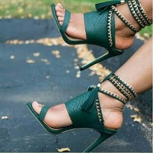 Lace up Woman Green Sandals Metal Chains Decor High Heel Pumps Tassel Design Thin Heel Cut-out Female Dress Shoes Big Size 11 недорого