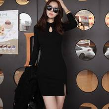 Autumn Winter Women Knitted Cotton Skinny Sweater Dress O-neck Slim Bodycon Dress Elegant Black Gray Sexy Party Vestidos(China)