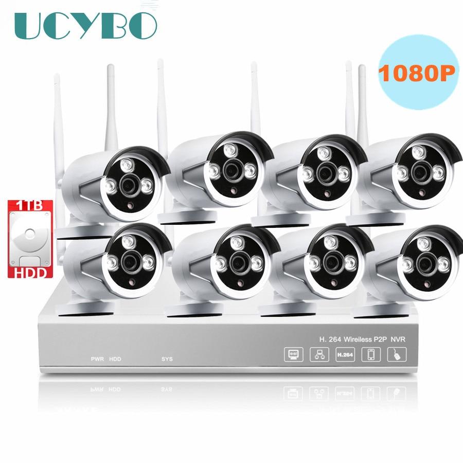 8ch Wireless 1080P IP Camera NVR CCTV home Security system Outdoor IR 2mp Network WIFI IP Camera Video Surveillance Kit Combo цена