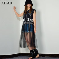 XITAO Europe Casual Sleeveless Mesh T Shirt Patchwork Turn down Collar Fashion Slim Women Summer Pullover Long T shirt ZLL3835