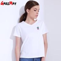 Women T Shirt Summer Casual Tops Tees Embroideried V Neck Short Sleeve Slim Shirt Femme Camiseta