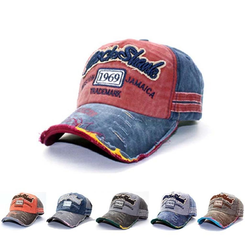Vintage Baseball Cap Men Adjustable Denim Distressed Solid Trucker Snapback Hat