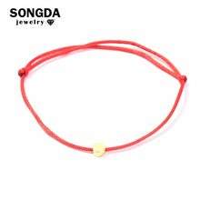 SONGDA New Style Real 24K Gold Circle Bracelet Multicolor Rope Adjustable String Lucky Bracelets for Women Men Kids Fine Jewelry(China)