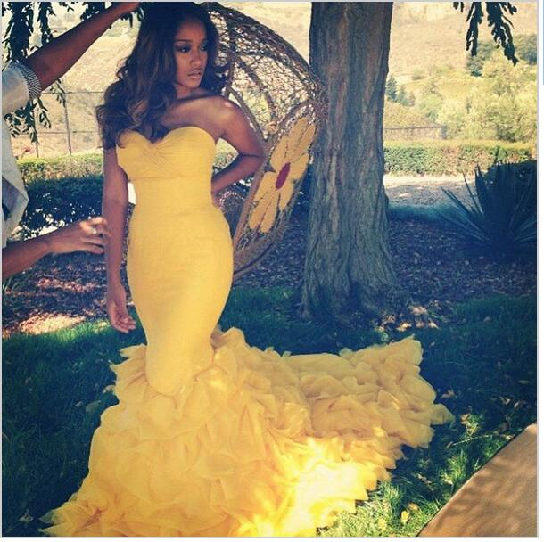 Yellow Mermaid Wedding Dresses