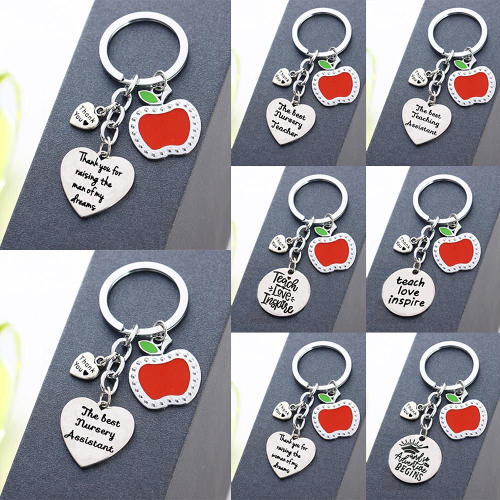Apple Love Heart Charms Keychain Thank You Gift For Teachers Teaching Assistant Nursery Teacher Keyring Key Chain Holder Jewelry
