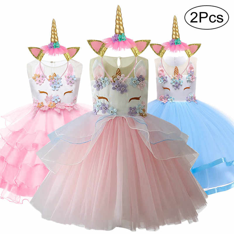 Easter Girls Dress 2Pcs Kids Dresses For Girls Unicorn Party Dress Toddler Cosplay Princess Dresses 2 3 4 5 6 7 8 9 10 Year