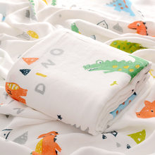 Cartoon Bamboo Cotton Baby Swaddle Blankets 4 Layers Muslin Baby Warp Infant Bath Towel Blanket 115*115cm Kids Bedding Quilt(China)