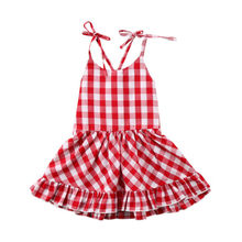 0-24M Baby Girl Red Plaid Checked Dress Newborn Toddler Wedding Party Dresses Sundress