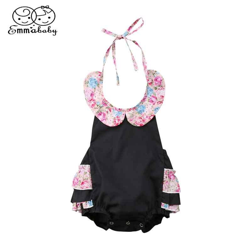Summer Baby Girls Romper 2018 Fashion Newborn Baby Girl Floral Backless Romper Cape Collar Jumpsuit Outfits Bebes Halter Romper