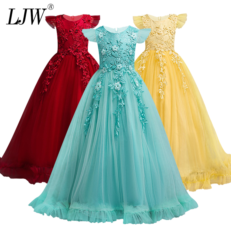 4-15Y Kids Girls Long Lace Flower Party elegant Ball Gown Prom Dresses Kid Girl Princess Wedding Children First Communion Dress teenage girl party dress children 2016 summer flower lace princess dress junior girls celebration prom gown dresses kids clothes