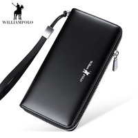 WILLIAMPOLO 2018 Black Genuine Leather wallet men leather long zipper purse Brand Clutch Wallet With Card Holder Bags POLO30001