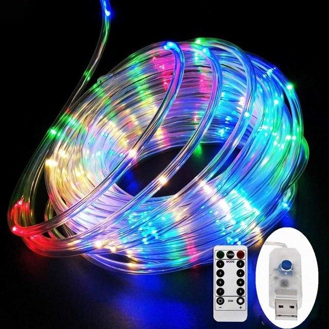 LED チューブストリップライト 8 プレイモードリモコン USB 花輪屋外屋内 DIY 装飾はクリスマスライト