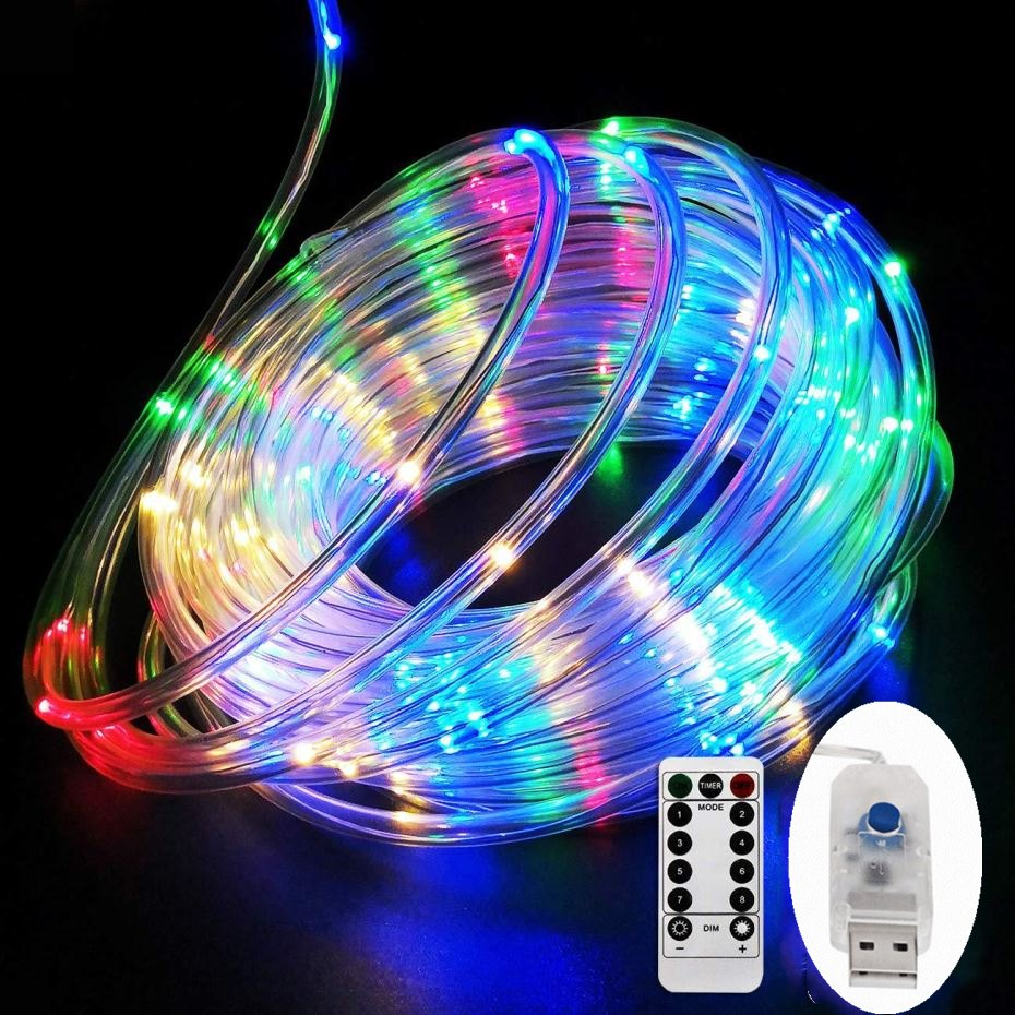 LED Tube Strip lights 8 Play Modes Remote Control USB Garland Outdoor Indoor DIY Decoration Christmas Wedding Garden Tree Lights-in Holiday Lighting from Lights & Lighting on