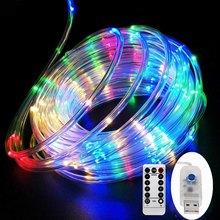 Tira de luces de tubo LED, 8 modos de juego, guirnalda USB con Control remoto, decoración para interiores y exteriores, bricolaje, Navidad, boda, jardín, árbol, luces