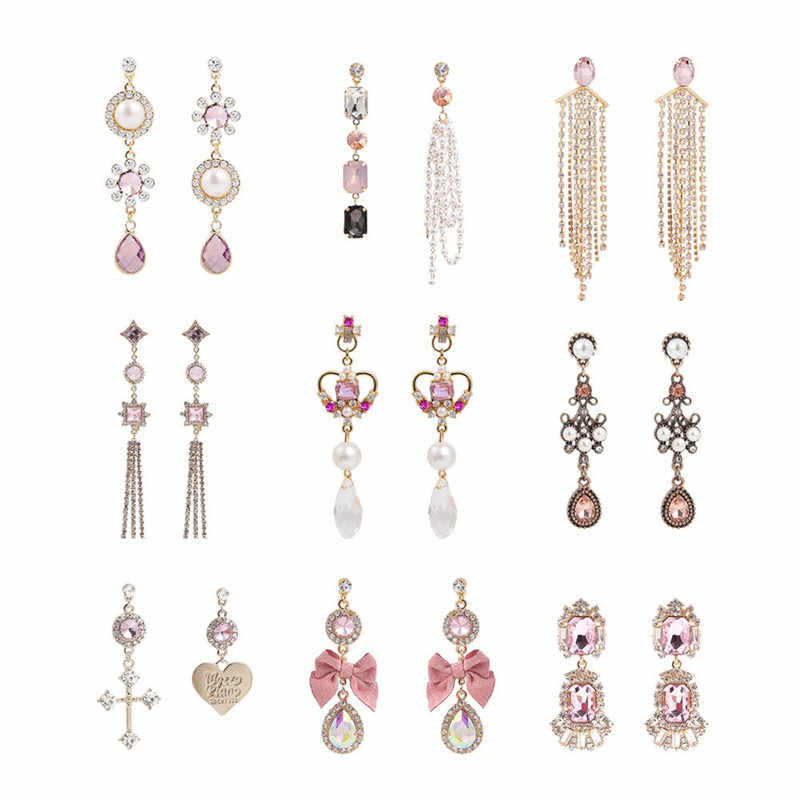 Baru Fashion Mewah Merah Muda Mengkilap Rhinestone Ikatan Simpul Panjang Rumbai Anting-Anting Drop Korea Gaya Baroque Perempuan Pendientes Perhiasan