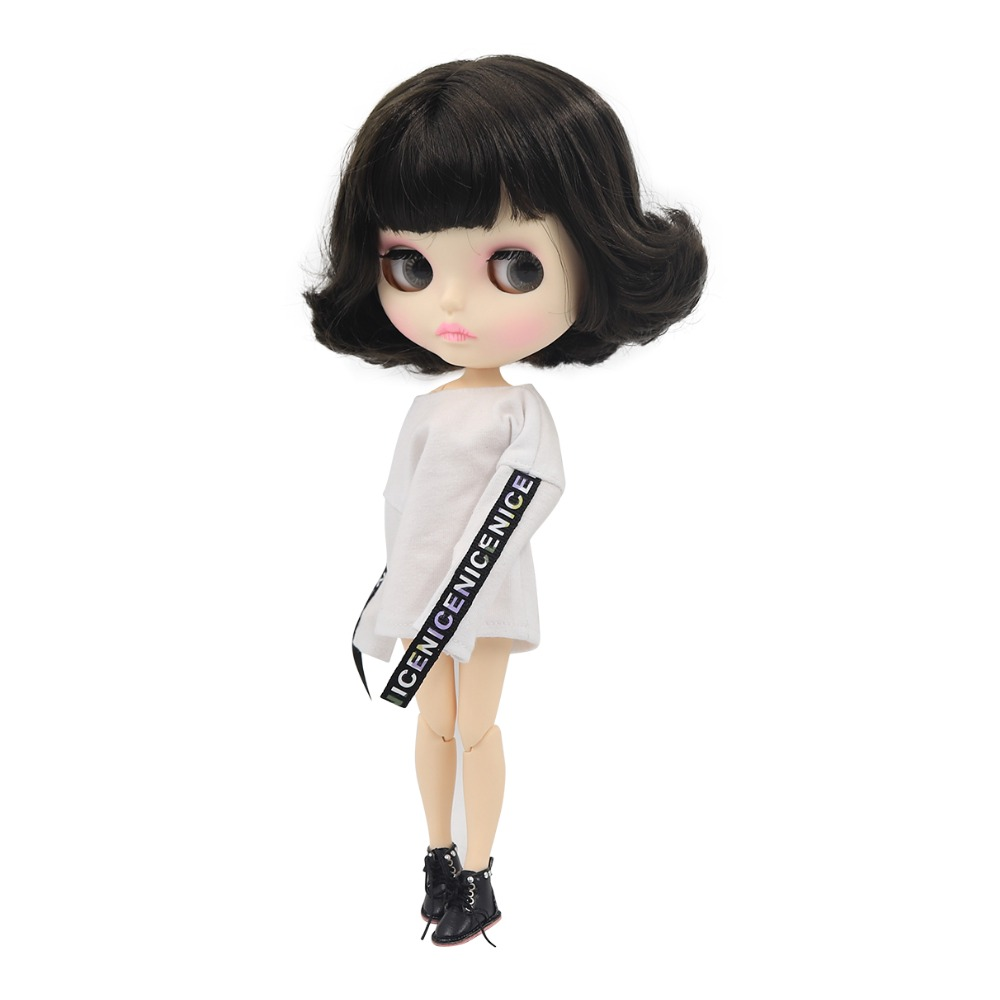 Blyth nude doll 30cm white skin Cute black short curly hair 1 6 JOINT body new