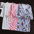 Пижамы Ночной Рубашке Халаты Хлопка Ночной Рубашке Халаты Женщины Шнуровкой Тонкий Хлопок Халат