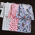 Sleepwear Nightshirt Robes Cotton Nightgown Bathrobes Women  Lacing Thin Cotton Dressing Gown