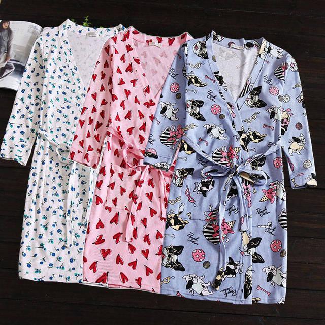 Sleepwear Nightshirt Robes Cotton Nightgown Bathrobes Women  Lacing Thin Cotton Dressing Gown
