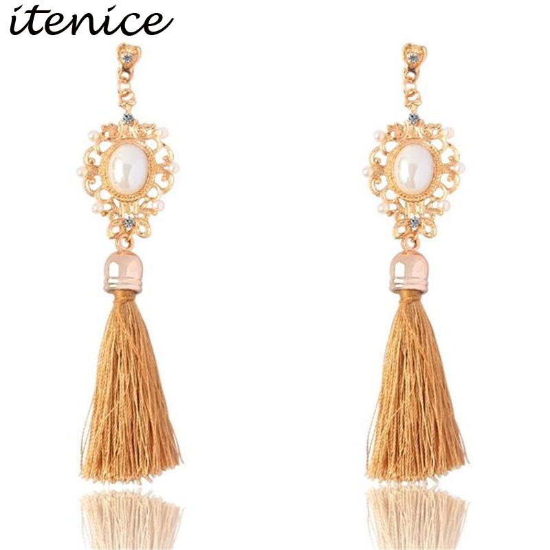 Retro Royal Imitation Pearl Long Tassel Fringing Earring Rhinestone Ethnic Wire Fashion Drop Earrings Jewelry For Women