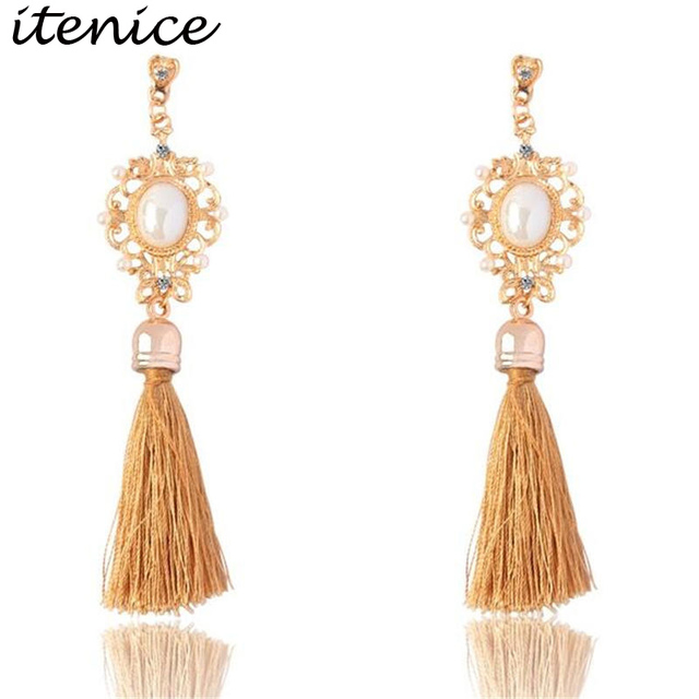 Retro Royal Imitation Pearl Long Tassel Fringing Earring Rhinestone Ethnic Wire Fashion Drop Earrings Jewelry For Women