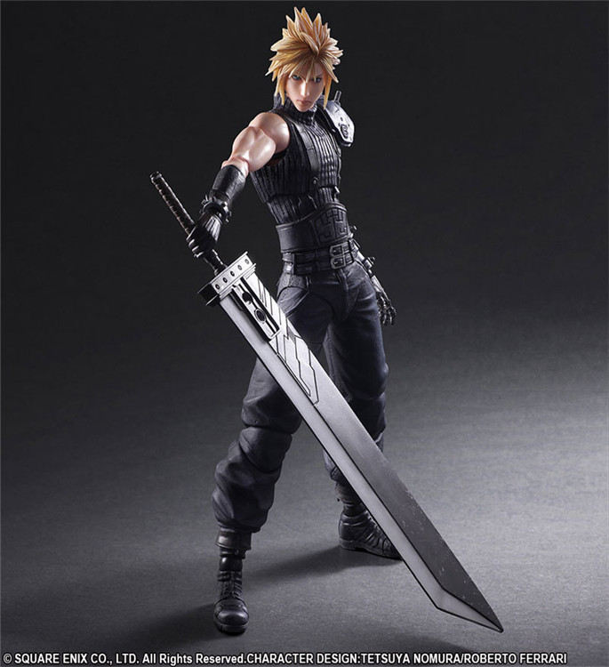 Cloud II 28cm Play Arts Kai Final Fantasy Vii Anime Action Toy Figures Pvc Model Collection Original Box For Children Gift final fantasy play arts kai action figure 250mm cloud sephiroth squall pvc anime toy collection model figurine play arts kai